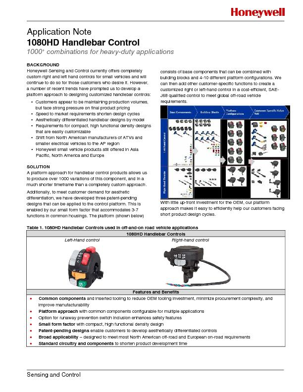 Application Note 1080HD Handlebar Control 1000+ combinations for heavy