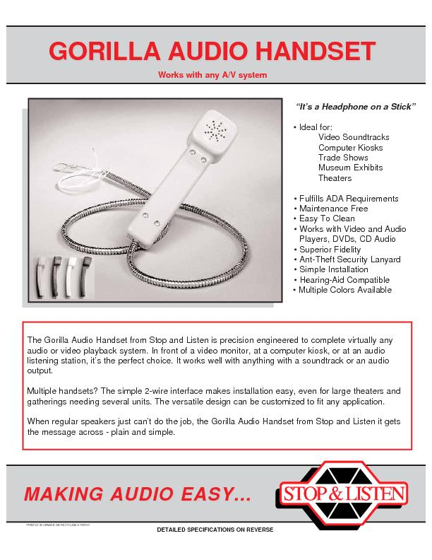 The Gorilla Audio Handset from Stop and Listen is precision engineered PowerPoint PPT Presentation