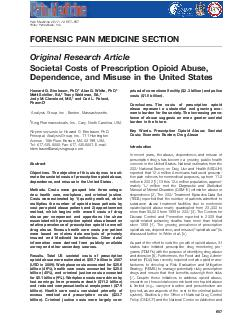 FORENSIC PAIN MEDICINE SECTION Original Research Article Societal Costs of Prescription Opioid Abuse Dependence and Misuse in the United States pme