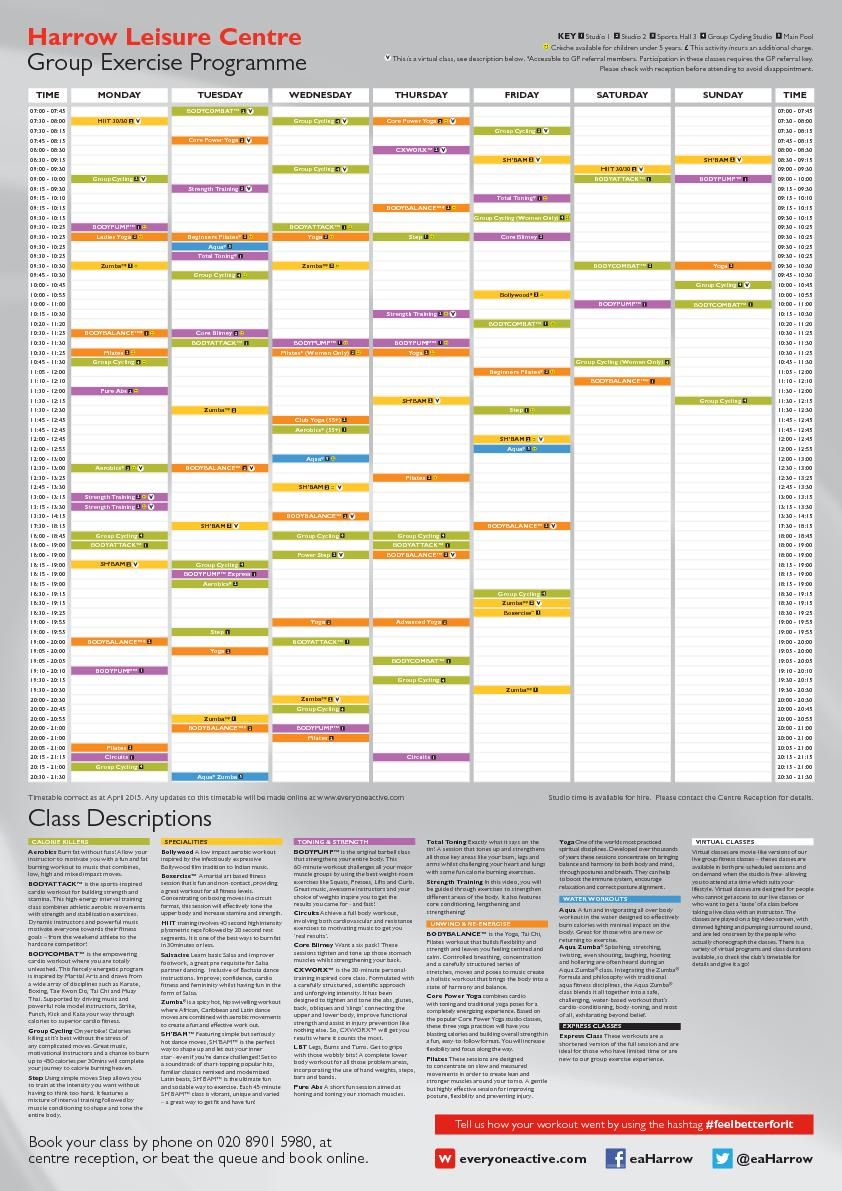 Timetable correct as at April 2015. Any updates to this timetable will