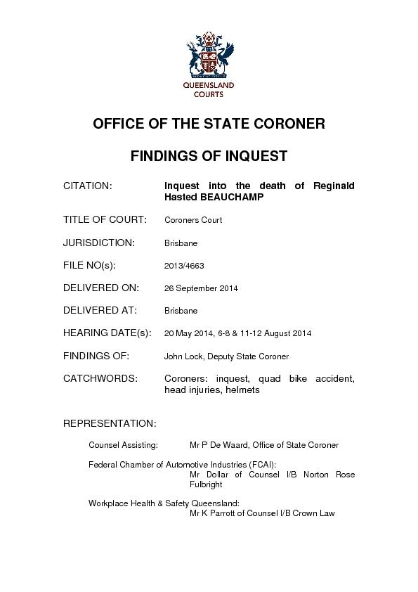 OFFICE OF THE STATE CORONER JURISDICTION:  FILE NO(s):  DELIVERED ON: