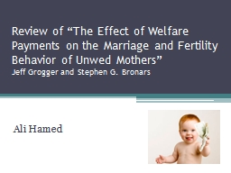 Review of �The Effect of Welfare Payments on the Marriage