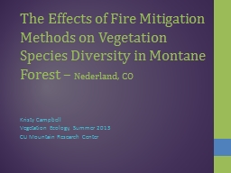 The Effects of Fire Mitigation Methods on Vegetation Specie