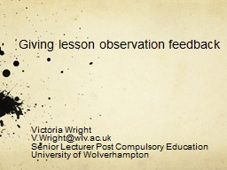 Giving lesson observation feedback