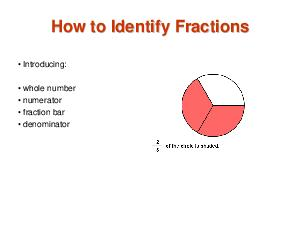 HOW TO IDENTIFY FRACTIONS Introducing whole number numerator fraction bar denominator improper  The Whole Unit  A colored in circle is used to show one unit for a whole number