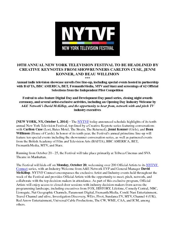 10TH ANNUAL NEW YORK TELEVISION FESTIVAL TO BE HEADLINED BY