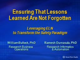 Ensuring That Lessons Learned Are Not Forgotten