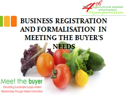 BUSINESS REGISTRATION AND FORMALISATION IN MEETING THE BUYE