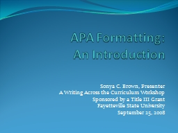 APA Formatting: PowerPoint PPT Presentation