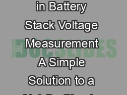 Application Note  AN anf March  Developments in Battery Stack Voltage Measurement A Simple Solution to a Not So Simple Problem Jim Williams and Mark Thoren Figure