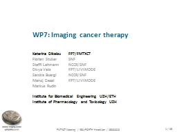 WP7: Imaging cancer therapy PowerPoint PPT Presentation