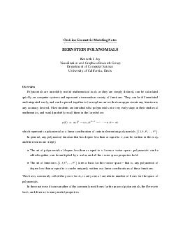OnLine Geometric Modeling Notes BERNSTEIN POLYNOMIALS Kenneth I