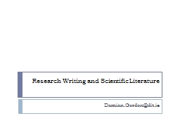 Research Writing and Scientific Literature