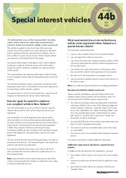 ISSN  print ISSN  online Special interest vehicles This factsheet informs you of the requirements for importing certain vehicles that do not meet frontal impact or emissions standards
