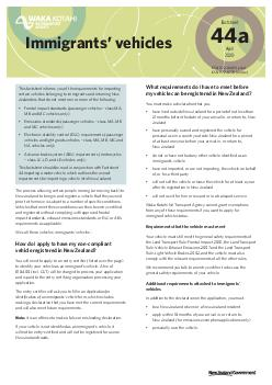 ISSN  print ISSN  online Immigrants vehicles This factsheet informs you of the requirements for importing vehicles belonging to immigrants that do not meet frontal impact or emissions standards