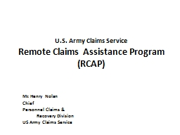 U.S. Army Claims Service PowerPoint PPT Presentation