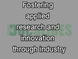 Fostering applied research and innovation through industry