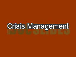 Crisis Management PowerPoint PPT Presentation