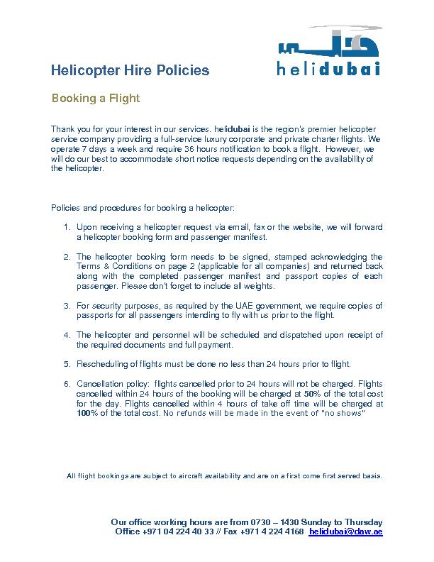 Helicopter Hire Policies