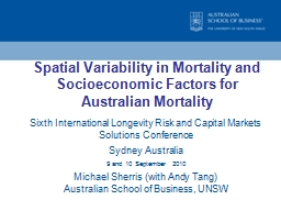 Spatial Variability in Mortality and Socioeconomic Factors PowerPoint PPT Presentation