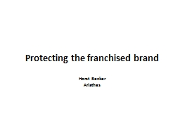 Protecting the franchised brand PowerPoint PPT Presentation