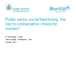 Public sector social franchising: the key to contraceptive