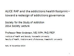 ALICE RAP and the addictions health footprint