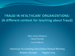 FRAUD IN HEALTHCARE PowerPoint PPT Presentation