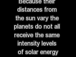 BRSP Page  Because their distances from the sun vary the planets do not all receive the same intensity levels of solar energy