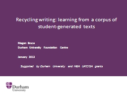 Recycling writing: learning from a corpus of student-genera