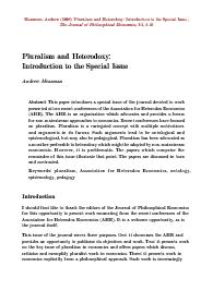 pluralism, Association for Heterodox Economics, ontology,