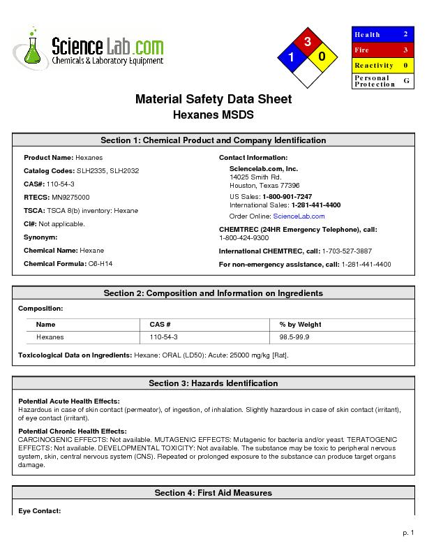 Material Safety Data SheetHexanes MSDS