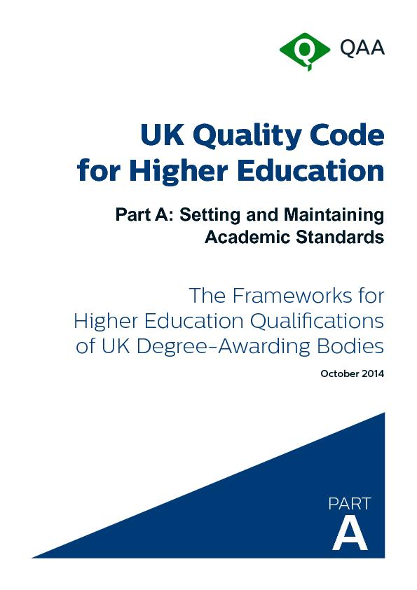 UK Quality Code for Higher EducationPart A: Setting and Maintaining  . PowerPoint PPT Presentation