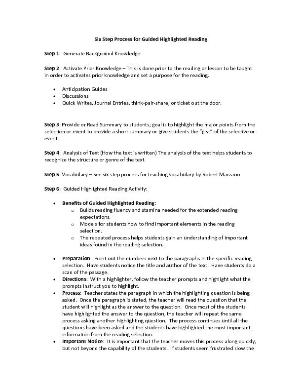 Six Step Process for Guided Highlighted Reading
