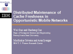 Distributed Maintenance of Cache Freshness in Opportunistic