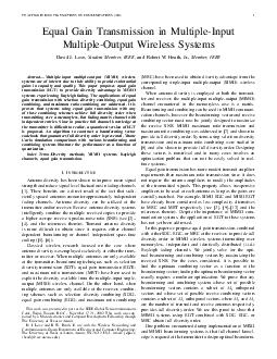 TO APPEAR IN IEEE TRANSACTIONS ON COMMUNICATIONS  Equal Gain Transmission in MultipleInput MultipleOutput Wireless Systems David J