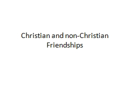 Christian and non-Christian Friendships