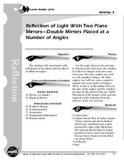 Optics An Educator s Guide With Activities in Science and Mathematics EGMSFC Reflection of Light With Two Plane Mirrors Double Mirrors Placed at a Number of Angles Level Grades  Activity  Reflection