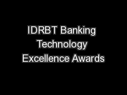 IDRBT Banking Technology Excellence Awards PowerPoint PPT Presentation