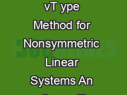 arallel Krylo vT ype Method for Nonsymmetric Linear Systems An thon y T