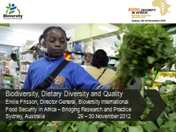 Biodiversity, Dietary Diversity and Quality PowerPoint PPT Presentation