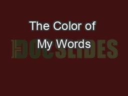The Color of My Words PowerPoint PPT Presentation