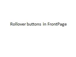 Rollover buttons in FrontPage