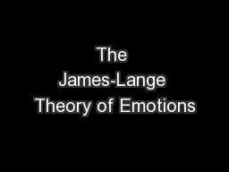 The James-Lange Theory of Emotions