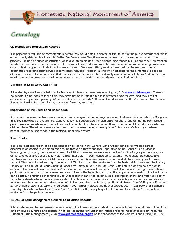 Genealogy and Homestead Records The paperwork required of homesteaders