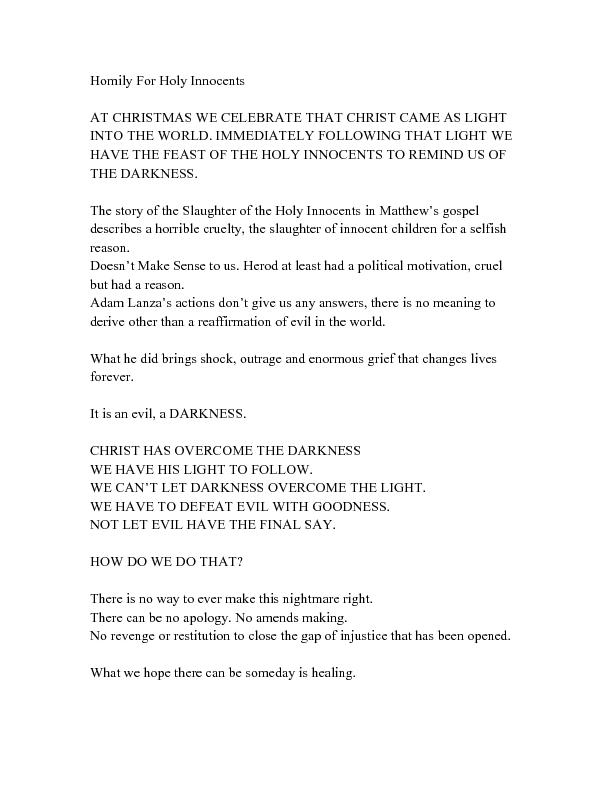 Homily For Holy Innocents  AT CHRISTMAS WE CELEBRATE THAT CHRIST CAME