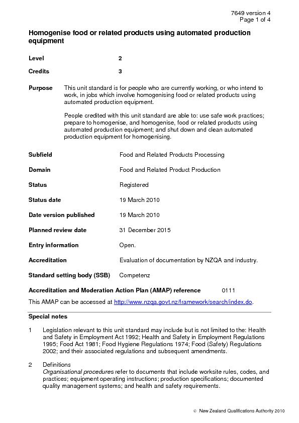 7649 version 4 Page 1 of 4   New Zealand Qualifications Authority 2010