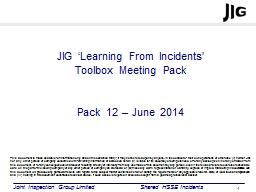 JIG 'Learning From Incidents'