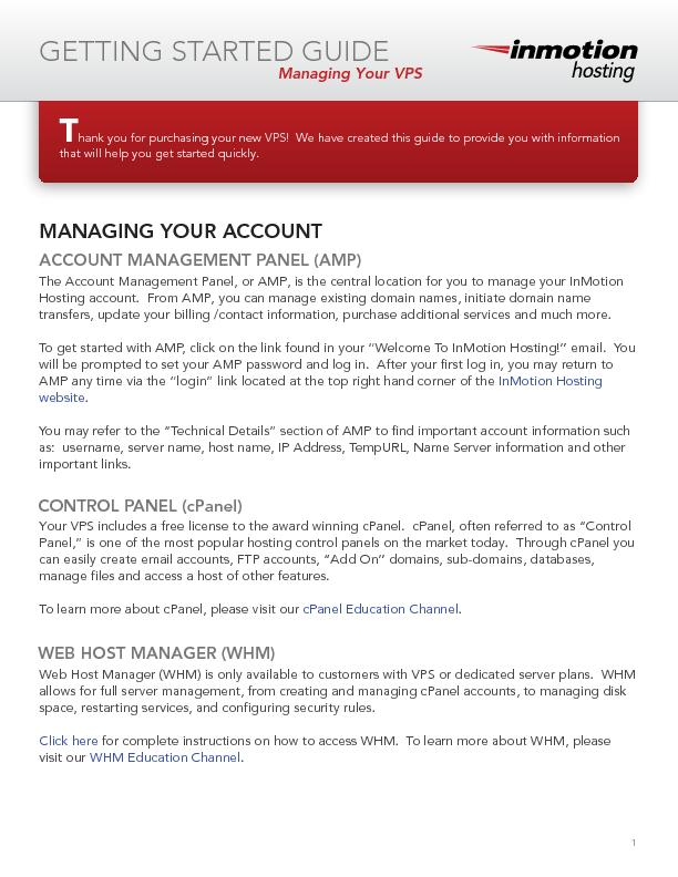 The Account Management Panel, or AMP, is the cenral location for you t