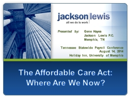 1 The Affordable Care Act: